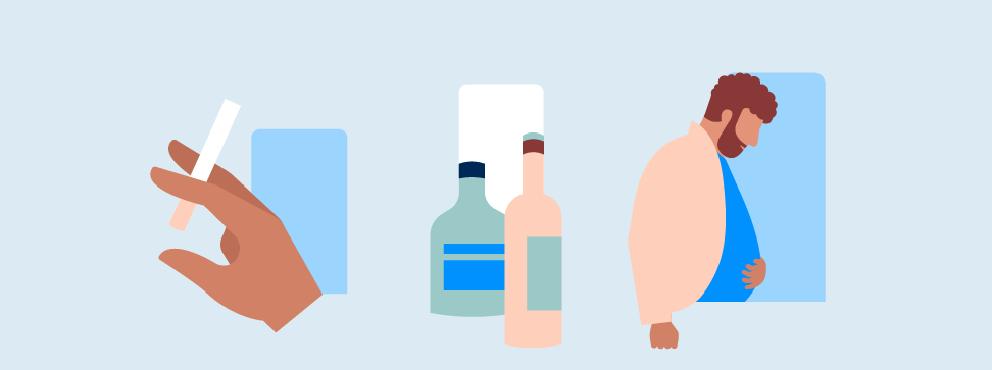 illustratie roken drinken obesitas